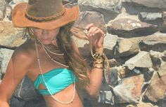 Turquoise bandeau with boho accents. Love.