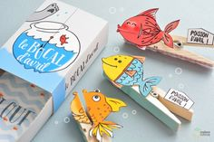 DIY Poisson d'avril – such a cute printable by Madame Citron Fish Activities, Craft Activities For Kids, Diy For Kids, Crafts For Kids, Arts And Crafts, Fish Crafts, Crafts To Make, Paper Toys, Paper Crafts