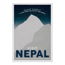 Visit Nepal Mount Everest Vintage Travel Poster