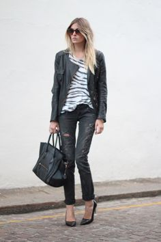 Current Elliot jeans, an Iro distressed tee, a Maje leather biker and the coolest plexi heels by Zara Studio. The bag is Celine.