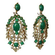 Vintage Jade Leaf Rhinestone Chandelier Earrings
