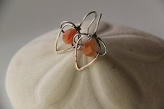 Sterling silver earrings with red agate silver by Keepandcherish, $39.99