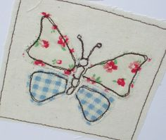 Butterfly Card Machine geborduurde wenskaart door Nikelcards