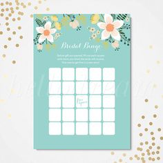 Bridal Shower Bingo Game Wedding Shower Game by hellodreamstudio
