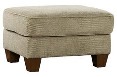 """The Newton Ottoman from Ashley Furniture HomeStore (AFHS.com). The """"Newton-Pebble"""" upholstery collection features a softly textured upholstery fabric in a light airy earth tone wrapped beautifully around the shapely curved contemporary design all brought together to create the style and comfort sure to enhance the décor of any living space. Chair And Ottoman, Living Spaces, Living Room, Contemporary Design, Beams, Kitchen Dining, Upholstery, New Homes, Furniture"""