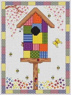Cross-stitch ABCs Patchwork Birdhouse ... no color chart available, just use pattern chart as your color guide.. or choose your own colors...