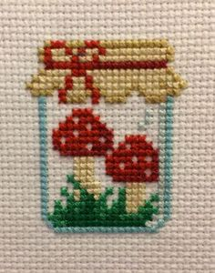 Mushroom Jar Cross Stitch Pattern, You can create very unique habits for textiles with cross stitch. Cross stitch versions may nearly amaze you. Cross stitch newcomers may make the versions they need without difficulty. Tiny Cross Stitch, Cross Stitch Kitchen, Cross Stitch Cards, Cross Stitch Designs, Cross Stitching, Cross Stitch Embroidery, Embroidery Patterns, Hand Embroidery, Cross Stitch Patterns