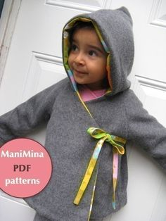 Chic hooded kimono coat - Instant download-PDF pattern - 12m to 5T