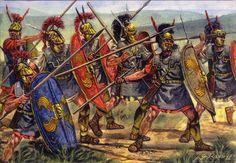 """Unidade de """"Príncipes"""" em combate, especialistas no manejo da lança (Por Giuseppe Rava)"""