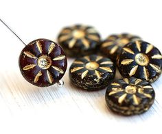 Daisy beads, czech glass beads - dark Red with Golden inlays - flower beads, coin beads, table cut, flat - 12mm - 6Pc - 1429