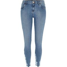 River Island Mid wash Amelie superskinny jeans ($80) ❤ liked on Polyvore featuring jeans, skinny jeans, women, mid-rise jeans, denim skinny jeans, skinny leg jeans und blue skinny jeans