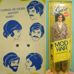 "Look! It's ""Mod Hair Ken"" from 1972! #mod #retro #vintage #retrohair #hairstyle #barbie #retrohair #doll #seventies #1970s #70s"