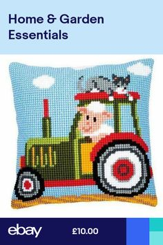 Tractor Cross Stitch Cushion Kit By Vervaco Cushion Embroidery, Diy Embroidery, Cross Stitch Embroidery, Cross Stitch Kits Uk, Black Sheep Wool, Pillow Mat, Cross Stitch Cushion, Easy Stitch, Knitting Charts