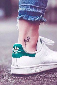 11 Flamingo #tattoos That Will Make You Think Pink, flamingo tattoo, delicate small flamingo tattoo, white Adidas sneskers,