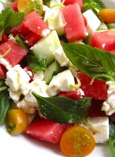 Watermelon Feta Salad with Cucumber & Tomato.  This was REALLY delicious.  It would be great to make for a summer party.