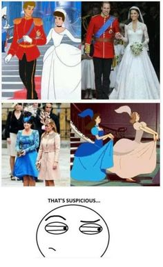 10 Funniest Disney Memes I know the step -sisters were colored to match; but how cute is it that William and Kate actually look like Cinderella and Prince Charming :) - funny pictures - funny photos - funny images - funny pics - funny quotes - funny anim Humour Disney, Funny Disney Memes, Disney Puns, Disney Pixar, 9gag Funny, Funny Humor, That's Hilarious, Freaking Hilarious, Geek Humor