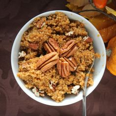 Pumpkin Spice Breakfast Quinoa. I love making hot cereal in the morning. A great alternative to oats.