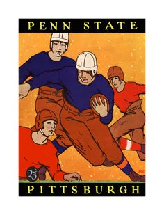 1927 Pittsburgh Panthers vs Penn State Nittany Lions 36 x 48 Canvas Historic Football Poster