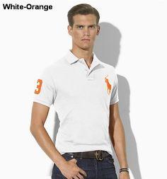 eed3fb9e Ralph Lauren Men Slim-Fit Big Pony Polo White Orange Cheap Ralph Lauren Polo ,