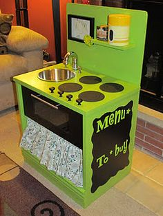 nightstand into play kitchen! Great idea for changing old furniture into early childhood classroom furniture!