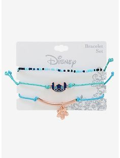 Stitch would approve of this ohana of bracelets! Features a stretchy seed bead bracelet and two adjustable cord bracelets with Lilo & Stitch charms. A BoxLunch Exclusive! Lilo And Stitch Quotes, Lilo Y Stitch, Cute Stitch, Seed Bead Bracelets, Silver Bracelets, Bracelet Set, Silver Rings, Cute Disney Outfits, Accessoires Iphone