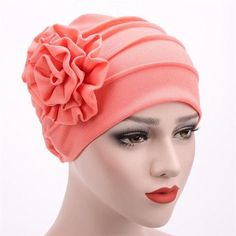 New Side Paste Solid Color Large Flower Muslim Hat Luxury Cotton Head Cap  For Women 1aa023ca1cba
