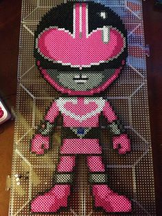 Perler Beads Power Rangers: Pink Time Force Ranger by xtuyet