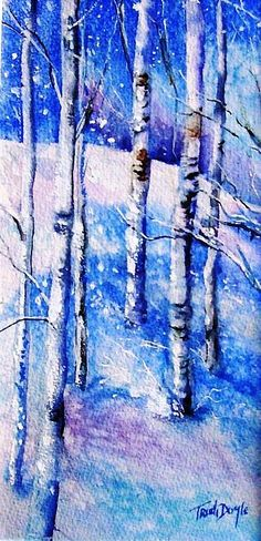 Watercolour painting of snowfall in a beautiful birch wood. The bark of all birches is characteristically marked with long, horizontal lenticels, and often separates into thin, papery plates. It has beautiful white bark and drooping branches. €175