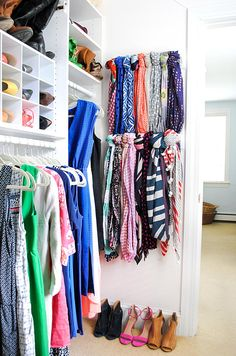 An easy and inexpensive scarf hanger using wooden towel bars. All you need is some blank wall space and about thirty minutes Best Closet Organization, Scarf Organization, Closet Hacks, Closet Storage, Organization Ideas, Closet Ideas, Clothing Organization, Bedroom Organization, Clutter Organization