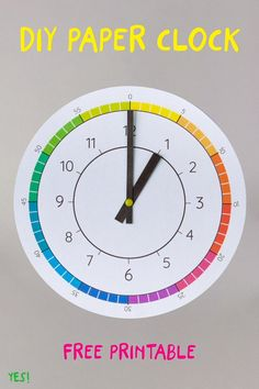 diy paper Looking for simple ideas how to teach your toddler or preschooler about time With a paper clock! We have designed a colorful paper clock template with a simple diy tutorial to make it at home! So much fun learning about time! Clock Learning For Kids, Clock For Kids, Math For Kids, Learning Activities, Kids Learning, Telling Time Activities, Make A Clock, Diy Clock, Learning Spanish