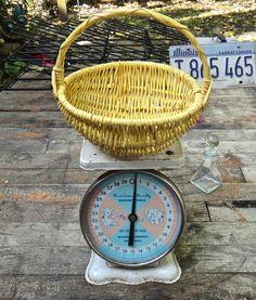 Wicker Basket, Yellow Basket, Funky, Eclectic, Small Basket, Boho Basket, Painted Basket, Yellow Wicker, Painted Wicker, Bohemian, Basket by CasaKarmaDecor on Etsy