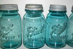 12 Vintage Aqua Blue  BALL Perfect Mason by sunshinehillfarm1848. , via Etsy.