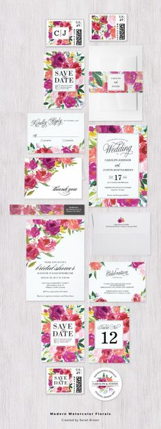 Modern watercolor flowers in vivid pinks and raspberry colors | floral wedding invitation set