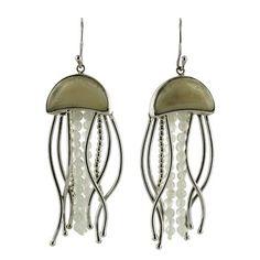 Sterling Silver Fossilized Walrus Ivory Rainbow Moonstone Jellyfish Dangle Earrings by Zealandia