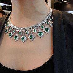 @gemmlisaw. Thanks @phillipsjewels #Emerald and #Diamond necklace Featuring over 30 carats of emeralds and over 40 carats of baguette and brilliant-cut diamonds