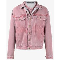 Y/Project  'Overdye' Denim Jacket with Removable Denim Undershirt (€690) ❤ liked on Polyvore featuring men's fashion, men's clothing, men's outerwear, men's jackets, mens lined denim jacket, mens lined jean jacket, mens pink jacket, mens denim jacket and mens fleece lined jacket