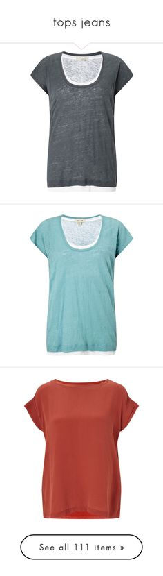 """""""tops jeans"""" by nanette-253 ❤ liked on Polyvore featuring tops, t-shirts, women tops, relaxed fit tops, scoop-neck tees, linen tops, breathable t shirts, lightweight t shirts, blue and women"""