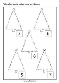 Teken het aantal ballen in de boom. De cijfers kunnen ook vervangen worden door getalbeelden.