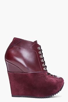Yves Saint Laurent Oxblood Leather Wedge Boots for Women   SSENSE