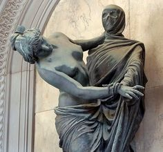 """The Staglieno Cemetery, Genoa - Italy The funeral monument called """"Eternal Drama"""" represents a real Dans macabre, the futile attempt of life to escape the inevitable embrace of death."""