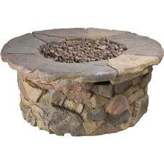Garden Treasures�50,000-BTU 42-in Stone Design Composite Liquid Propane Fire Pit