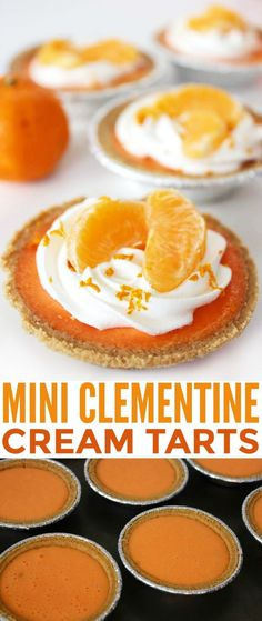 These Mini Clementine Cream Tarts are sweet and delicious with a homemade clementine curd that is incredibly easy and unfussy.  It's got a bit of a zing that pairs quite well with fresh whipped cream.  Mmm!