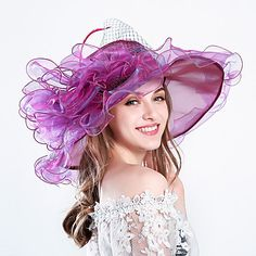 Feather Silk Organza Fascinators Hats Headwear with Floral 1pc Wedding Special Occasion Party / Evening Casual Outdoor Headpiece