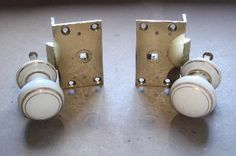 Pair of Victorian Brass Shutter Catches with China Knobs