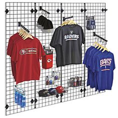 Uline stocks a wide selection of gridwall panels, wire grid panels and wire display racks. Over products in stock. 11 locations across USA, Canada and Mexico for fast delivery of gridwall panels. Boutique Interior, Clothing Store Interior, Clothing Store Displays, Clothing Store Design, Wire Grid Wall, Wire Grid Panels, Art Sport, Dance Studio Design, Retail Merchandising