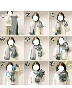 How do I tie a scarf? How do I tie a scarf? How to tie a scarf How to tie a scarf Ways To Tie Scarves, Ways To Wear A Scarf, How To Wear Scarves, Scarf Knots, Diy Scarf, Look Fashion, Fashion Beauty, Womens Fashion, Fashion Tips