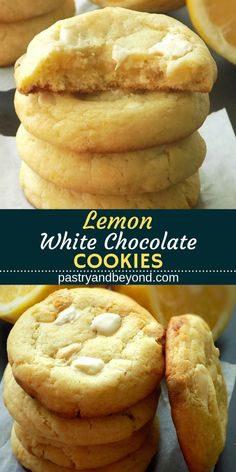 Lemon White Chocolate Cookies-Soft lemon white chocolate cookies are delicious and so easy to make! These sweet treats are flavored with fresh lemon juice, lemon zest and white chocolate, perfect for lemon-white chocolate lovers! #lemon #whitechocolate #cookies #easy #baking #recipes #sweettreats