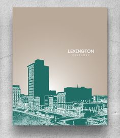 Lexington KY Skyline Poster / Home Office or Nursery Pop Art Print / Any City or Landmark. $20.00, via Etsy.