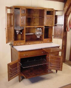 """Oak Hoosier Cabinet - signed """"McDougall"""" Would love to have a Hoosier cabinet in our next home. :-)"""