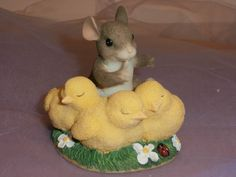 Fitz & Floyd Lot Of 4 Charming Tails Mice Figurines with Boxes Spring Easter